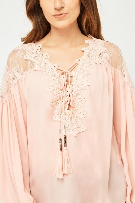 Crochet Lace Insert Sheer Blouse