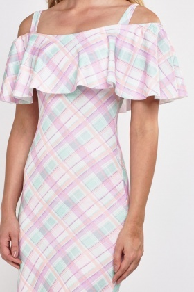Cut Out Shoulder Checked Midi Dress