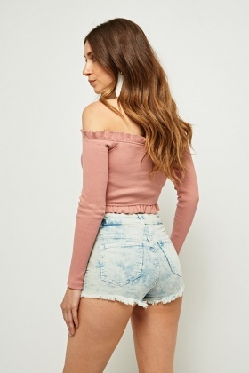 Faded Washed Out Denim Hotpants