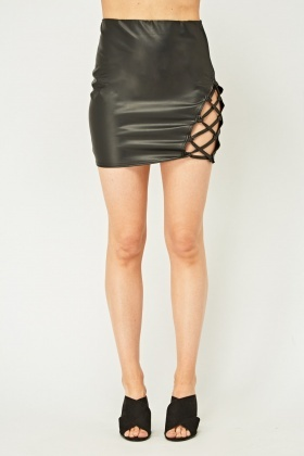 Faux Leather Criss Cross Skirt