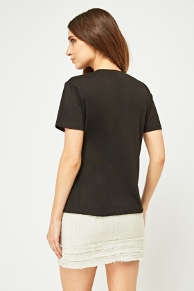 Faux Pearl Embellished T-Shirt