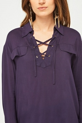 Lace Up Front Blouse