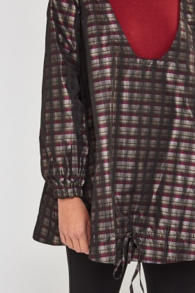 Low Neck Hooded Check Jacket