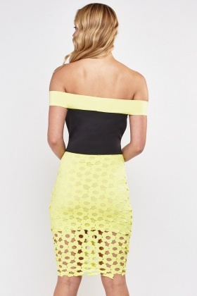 Off Shoulder Laser Cut Bardot Dress