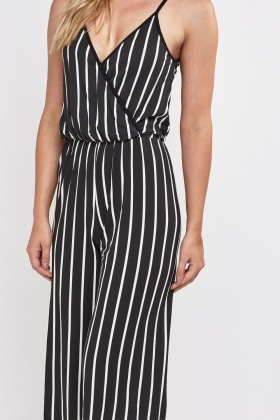 Pin Striped Wrap Jumpsuit