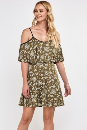 Printed Frilly Skater Dress