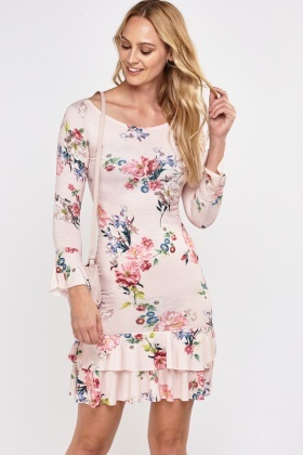 Printed Ruffle Hem Tiered Dress
