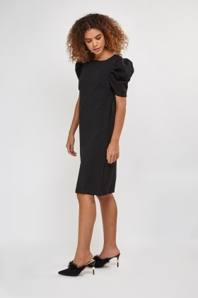 Puffed Sleeve Shift Dress