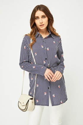 Rose Printed Striped Shirt