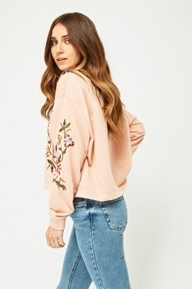Sequin Flower Embroidered Sweatshirt
