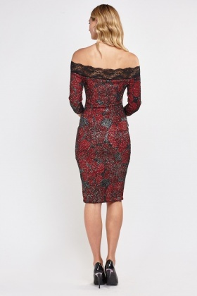 Textured Glitter And Lace Insert Dress