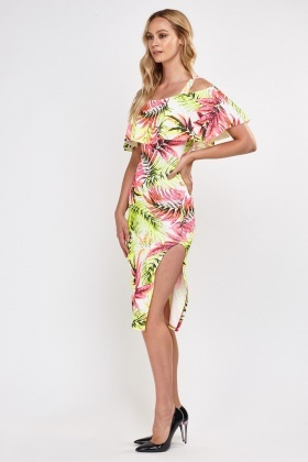 Tropical Neon Printed Bardot Dress