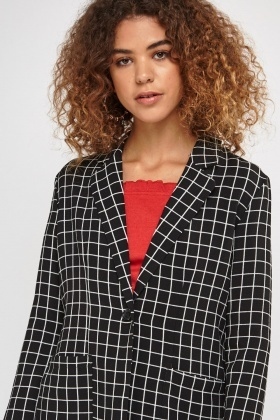Window Pane Printed Duster Coat