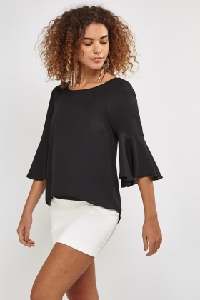 Circular Sleeve Sheer Blouse