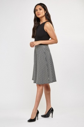 Contrast Bodice Skater Dress