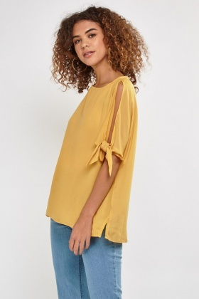 Cut Out Knotted Sleeve Blouse