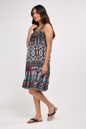 Embellished Mix Print Tunic Dress