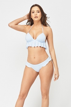 Frilly Trim Bikini Set