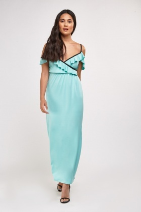 Frilly Trim Maxi Wrap Dress