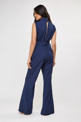 High Neck Flared Jumpsuit
