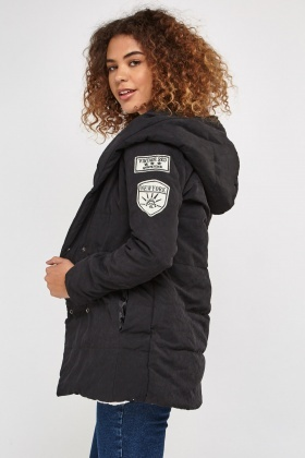 Hooded Applique Patch Puffer Jacket
