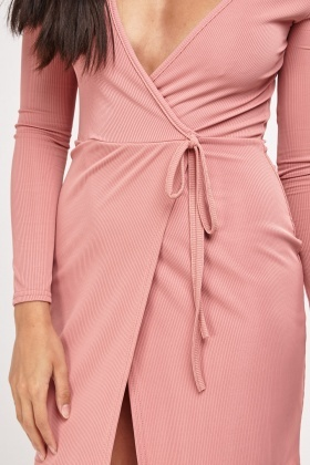 Ribbed Wrap Tie Up Dress