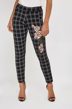 Rose Flower Side Printed Trousers