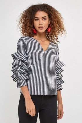 Ruffle Sleeve Striped Wrap Top