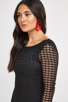 Textured Mesh Overlay Bodycon Dress
