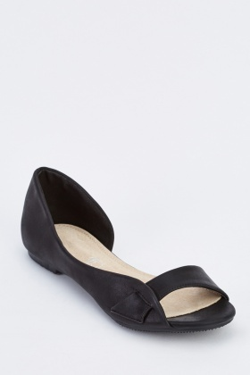 Cut Out Open Toe Flat Shoes