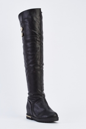 Detailed Knee High Boots