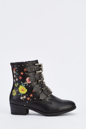 Faux Leather Embroidered Ankle Boots
