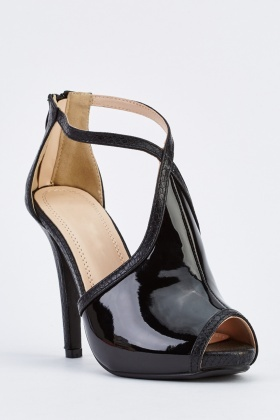 PVC Peep Toe High Heel Shoes