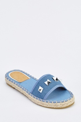 Studded Denim Slip On Flat Sandals