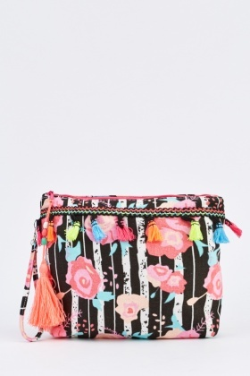 Tasseled Floral Cosmetic Bag