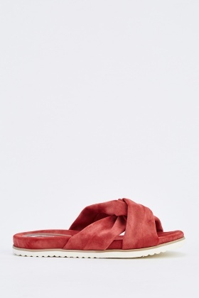 Washed Faux Leather Flaftorm Slippers