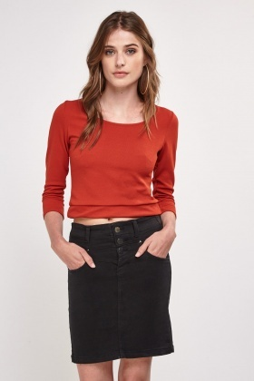 3/4 Length Sleeve Crop Top