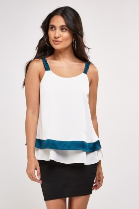 Contrasted Open Tie Back Camisole Top