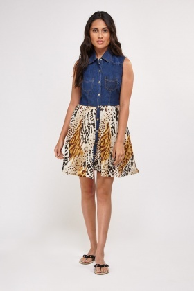 Denim And Chiffon Contrast Shift Dress