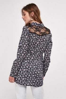Ditsy Floral Lace Insert Blouse