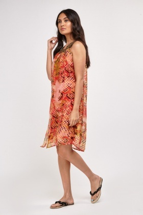 Embellished Printed Sheer Tunic Dress