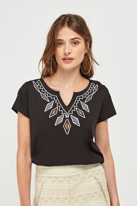 Embroidered Neck Front Top