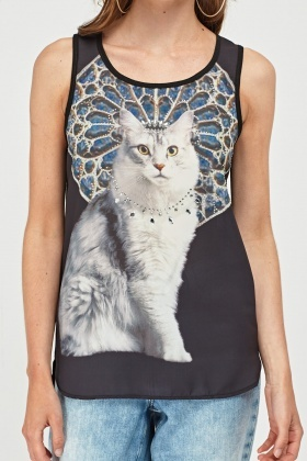 Encrusted Cat Print Shell Top