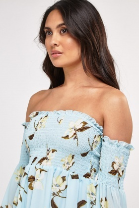 Flower Print Off-The Shoulder Dress