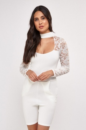 Keyhole Lace Fitted Playsuit