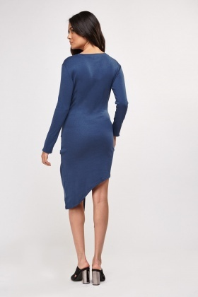 Knotted Tie Front Asymmetric Dress