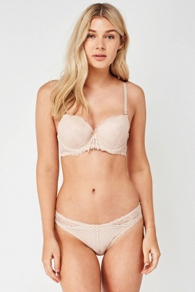 Lace Insert Push Up Bra And Brief Set