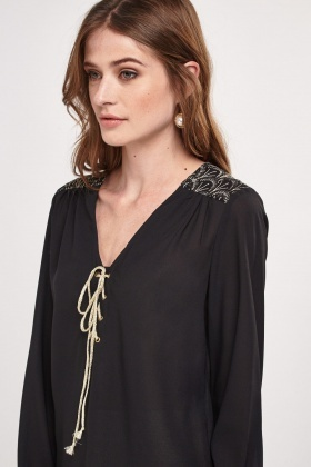 Metallic Lace Up Detailed Sheer Blouse