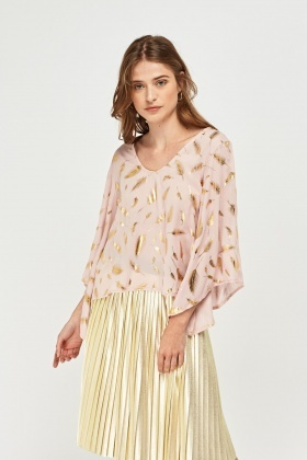 Metallic Leaf Print Sheer Blouse
