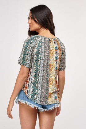 Mix Printed Tunic Top